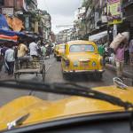 En taxi dans les rues de Kolkata